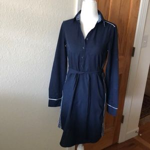 Izod Navy 100% Cotton Shirt Dress EUC size xs